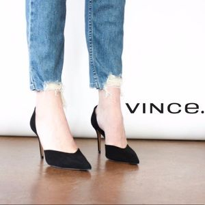 NEW | VINCE Paulette Black Suede Pointy Toe Pump